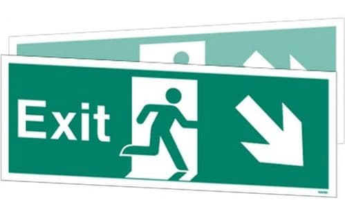 W448DSK - DOUBLE-SIDED EXIT SIGN DOWN TO THE RIGHT OR DOWN TO THE LEFT