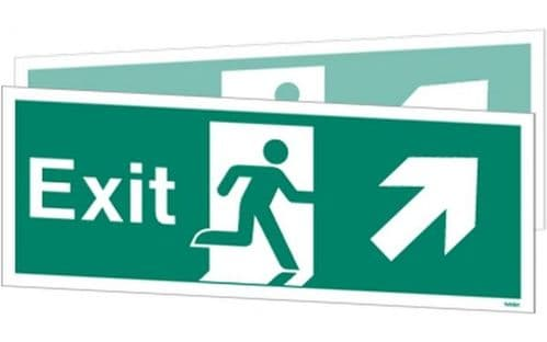 W449DSK - DOUBLE-SIDED EXIT SIGN UP TO THE RIGHT OR UP TO THE LEFT