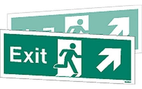 W449DST - DOUBLE-SIDED EXIT SIGN UP TO THE RIGHT OR UP TO THE LEFT.