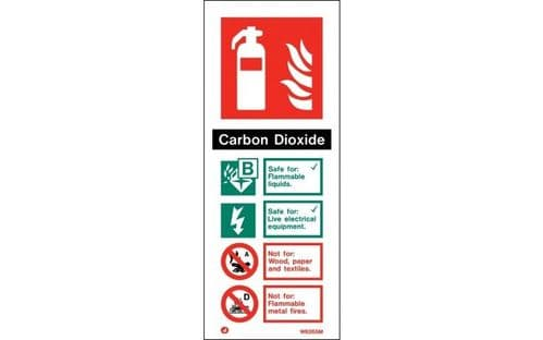 W6265M - CARBON DIOXIDE EXTINGUISHER IDENTIFICATION SIGN  200 x 80mm