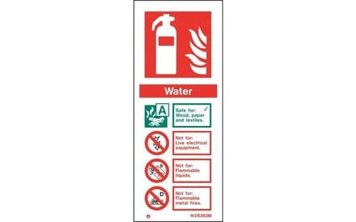 W6362M - WATER EXTINGUISHER IDENTIFICATION SIGN 200 x 80mm