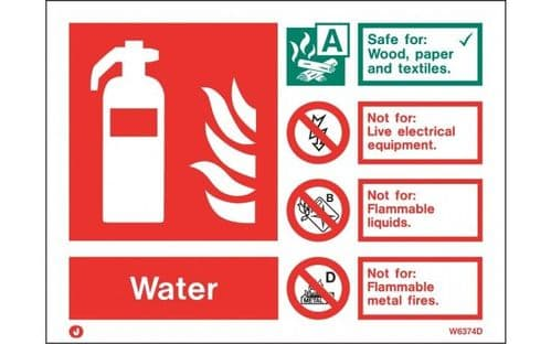 W6374ID - WATER EXTINGUISHER IDENTIFICATION SIGN wp landscape