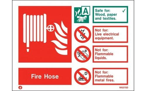 W6375D - FIRE HOSE EXTINGUISHER IDENTIFICATION SIGN