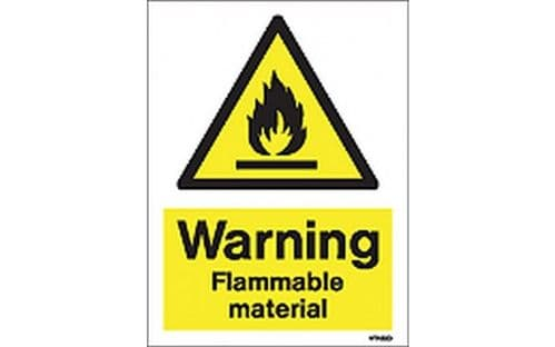 W7422D - WARNING FLAMMABLE MATERIAL SIGN.