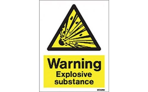 W7423D - WARNING EXPLOSIVE SUBSTANCE SIGN.