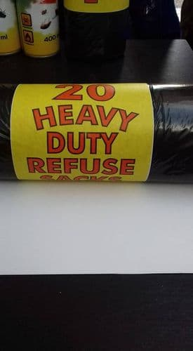 HEAVY DUTY BLACK BIN BAGS ROLL (20)