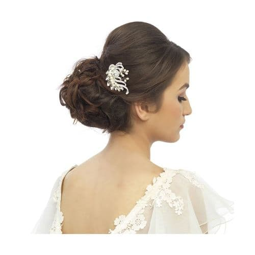 Crystal Beauty Silver Pearl Hair Comb
