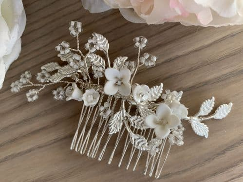 Lupin Floral Silver Crystal Hair Comb