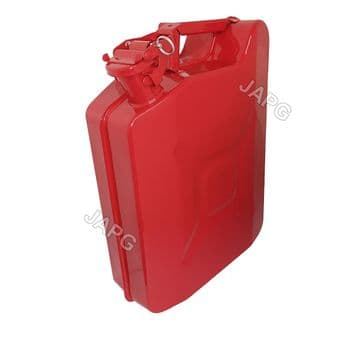 10 Litre, 10L Red Painted Steel Jerry Fuel Petrol Can, Mower, Ride On Tractor, Engine, Generator