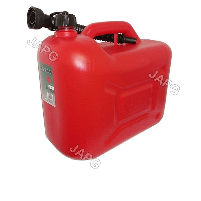 20 Litre, 20L Red Plastic Fuel Petrol Can, Jerry Can with Spout, Mower, Ride On Tractor, Engine