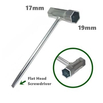 Chainsaw Spark Plug & Bar Nut Spanner Tool, 17mm x 19mm with Flat Head Screwdriver End