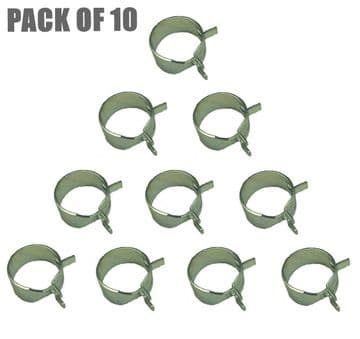 Fuel Pipe Hose Clamp Clips Pack Of 10, Briggs & Stratton Engines, Part 791850, 95162, 93053, 95162s, WORKSHOP PACK