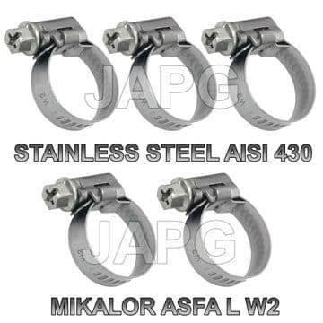 PACK 5X STAINLESS STEEL, 32MM-50MM, HOSE CLAMP, HOSE CLIP, JUBILEE CLIP, MIKALOR ASFA WORM DRIVE