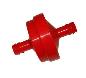 Red In Line Fuel Petrol filter, 150 Micron, For Briggs & Stratton Ride On Mower Engines, Part 298090s, 298090, 395018.