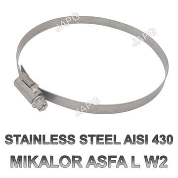 STAINLESS STEEL 130MM-150MM HOSE CLAMP, HOSE CLIP, JUBILEE CLIP, MIKALOR 130-150, WORM DRIVE