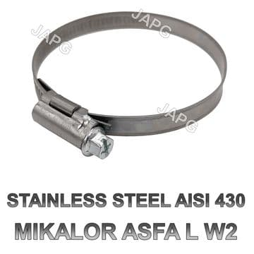 STAINLESS STEEL 60MM-80MM HOSE CLAMP, HOSE CLIP, JUBILEE CLIP, MIKALOR 60-80, WORM DRIVE