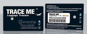 Airline Approved Trace Me Luggage Tracker Tag. Smart Tracking Device to Protect Your Bag - Including 1 Years Bag Loss Guarantee up to 500 US Dollars.