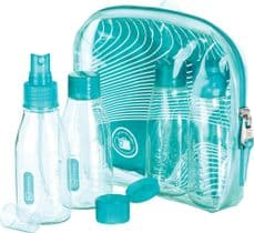 Go Travel Cabin Approved Bottle Set-4 100ml Bottles for Liquids & Gels (Ref 656)