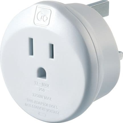 Go Travel Earthed America to UK Adaptor - USA to UK Converter - Adapter (554)