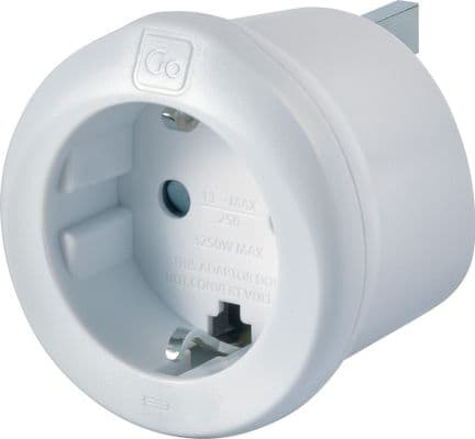 Go Travel Earthed European to UK Adaptor - EU to UK Converter-Adapter (Ref 540)