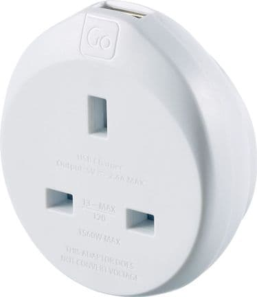 Go Travel Earthed UK to American Adaptor USA Converter inc USB (Adapter Ref 626)