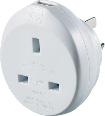 Go Travel Earthed UK to Australia Adaptor-AUS Converter & USB (Adapter Ref 627)