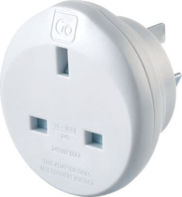 Go Travel Earthed UK to Australia Adaptor-UK to AUS Converter-(Adapter Ref 528)