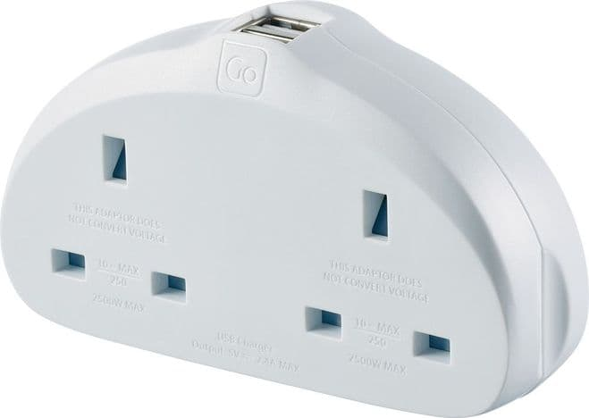 Go Travel Earthed UK to European Adaptor-EU Twin Converter-USB (Adapter Ref 629)
