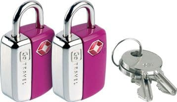 Go Travel Mini Glo Bright Colour Travel Sentry® Luggage Padlock-2 Keys (Ref 339)