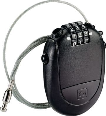 Go Travel Retractable 3 Dial Combination Tough Cable Padlock - Black (Ref 361)