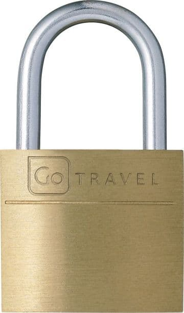 Go Travel Solid & Secure Brass Luggage Padlock with 3 Keys-Single Pack (Ref 170)