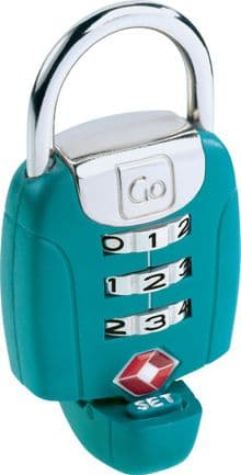 Go Travel Twist & Set TSA accepted 3 Dial Combination Luggage Padlock (Ref 357)