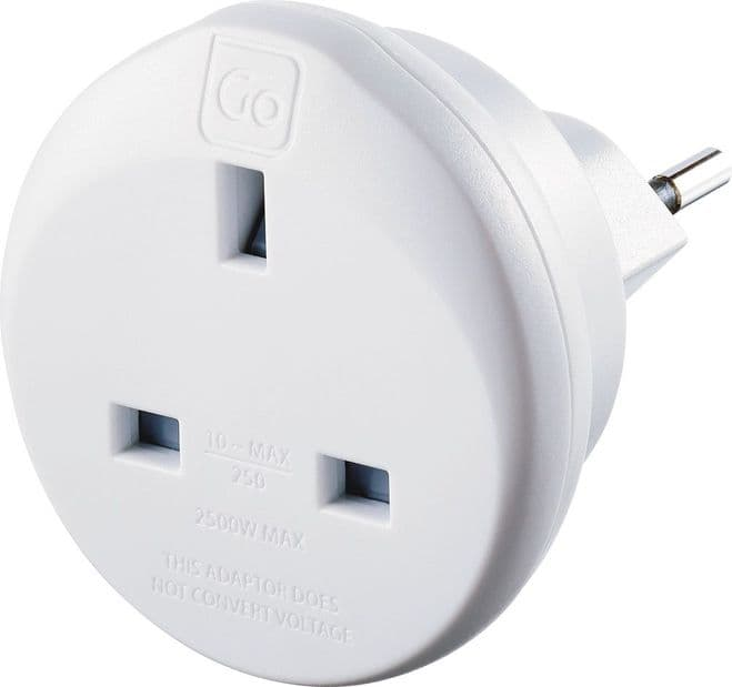 Go Travel UK to Swiss Earthed Compact Travel Adaptor (Adapter Ref 534)