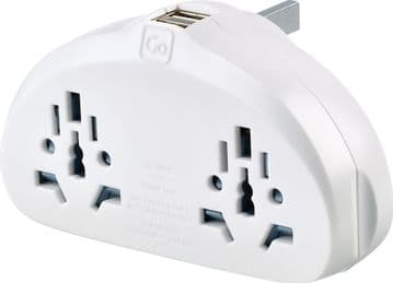 Go Travel World Duo Eathed Adaptor with Twin USB Ports for use with UK Sockets (Adapter Ref 634)