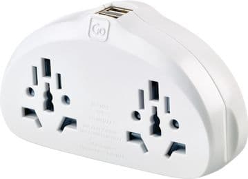 Go Travel World Duo Eathed Adaptor with Twin USB Ports for use with USA Sockets (Adapter Ref 632)