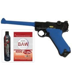 W.E. P08 Metal Luger Gas Blowback Airsoft Gun with Gas & 5000BB