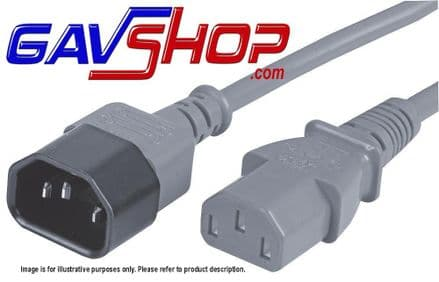 0.5Mtr GREY IEC Male C14 to Female C13 Extension Lead 10A 250V - Ideal Lighting Link Lead