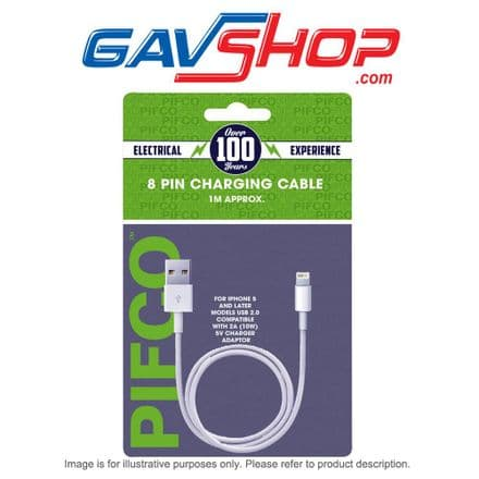 1m PIFCO Lightning Charging Cable, White -  AVS1197GE1