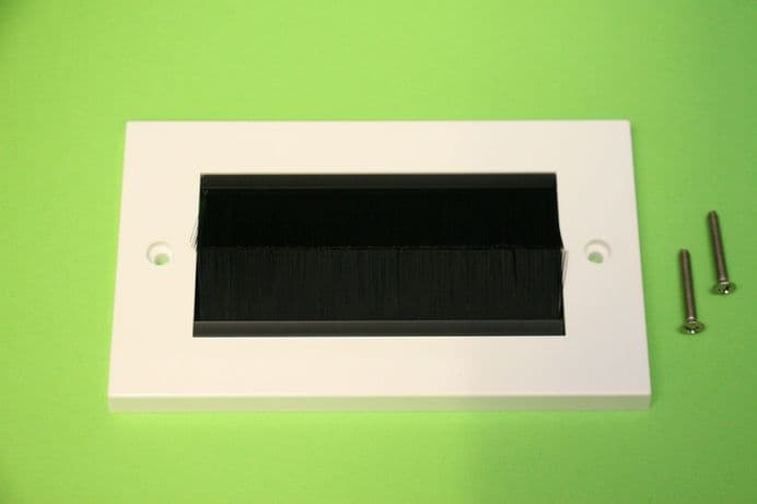 2 GANG BRUSH FACEPLATE CABLE ENTRY DOUBLE SOCKET WALL FACE PLATE SIZE