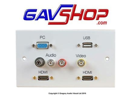 2 Gang HDMI Wallplate with VGA, USB A & AV Ports