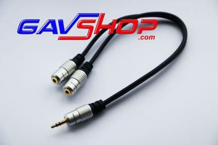 2 x 3.5mm Stereo Jack Sockets to 3.5mm Stereo Plug 300mm Lead adapter cable