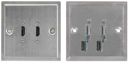 2 x HDMI STEEL WALLPLATE / FACEPLATE 122.429UK