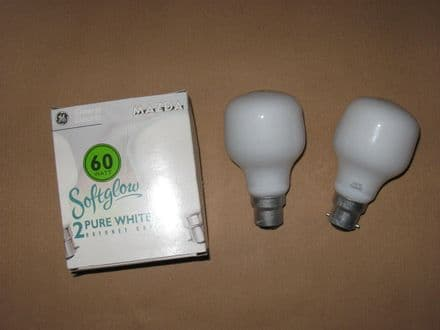 60W GE Softglow Bayonet Cap (BC Fitting) Light Bulb Lamp (Twin Pack)