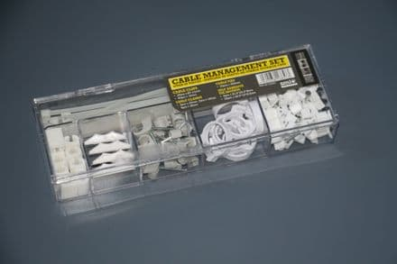 80 Piece Cable Tidy Management set in case. Includes Clips, Mounts, Ties and Clamps - 5060038168573
