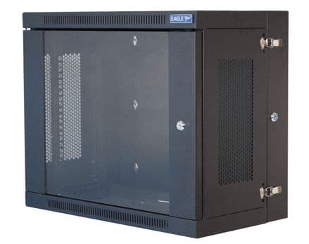"""9U Eagle Wall Mounting 19"""" Rack Cabinet With Hinged Back and Glass Locking Door - P729B"""