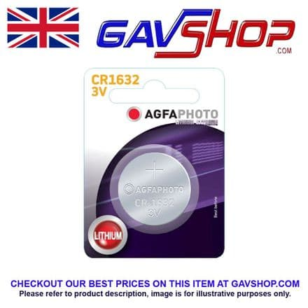 Agfa Lithium CR1632 Button / Coin Size 3v Photo, Key Fob, Calculator Watch Battery