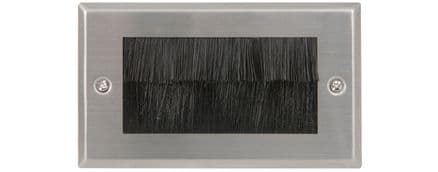 Brushed Steel Double Gang AV Brush Wall Plate - 122.272UK