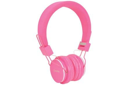 Children's Pink Headphones with in-line Microphone & Volume Limiter