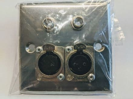 F267LO Silver Metal AV Wall Plate with 2 x XLR & 2 x Mono 6.5mm Jack Sockets
