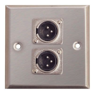 F267XD Metal AV Wall Plate 2 x 3 Pin XLR Connector Plugs